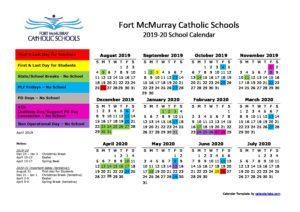 2020 Catholic Calendar School Calendar 2019 2020 | Fort McMurray Catholic Schools